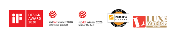 iF Design Award 2020, Red Dot - Best of the Best Lighting Design 2020, <br>Red Dot Innovative Product 2020, Progress Report Selection 2020, Lux Award